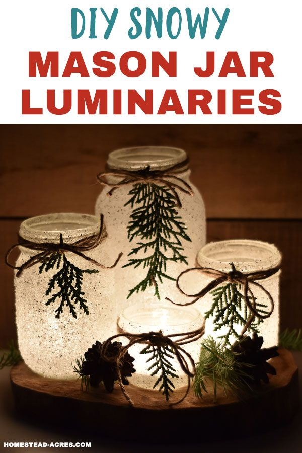 DIY Snowy Mason Jar Luminaries (Quick & Easy #masonjardecorating