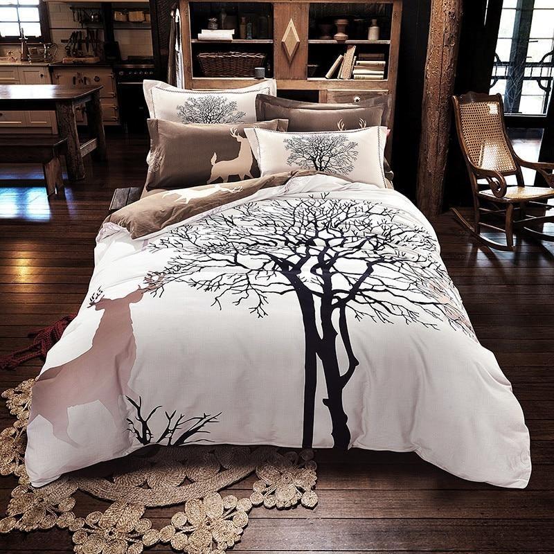 Tree Deer Print Bedding Set Thick Sanding Cotton Bed Linens Queen