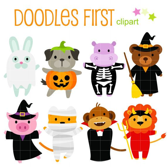 This Clip Art Set Includes The Following Elements 8 X Cute Halloween Animals Each Clipart Illustration Is Incl Digital Clip Art Cupcake Toppers Paper Clip Art