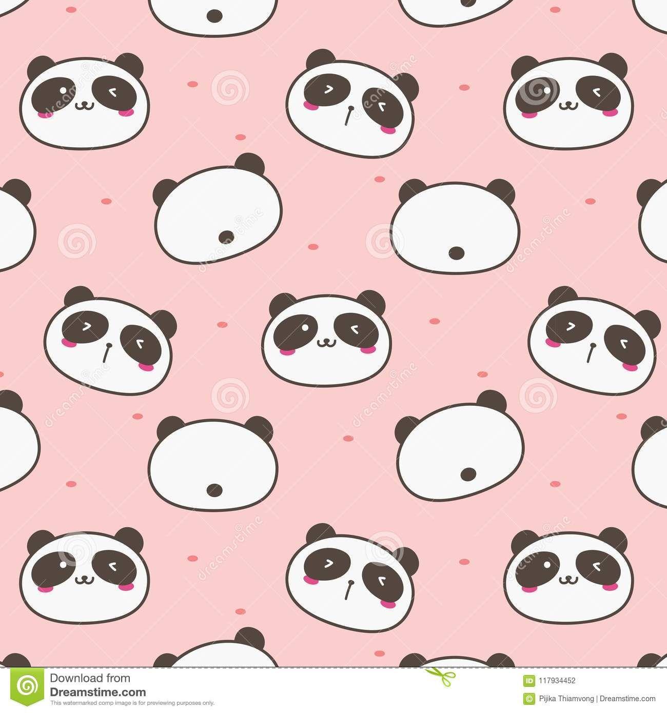 Cute Panda Vector Pattern Background Cute Panda Wallpaper Panda Background Background Patterns