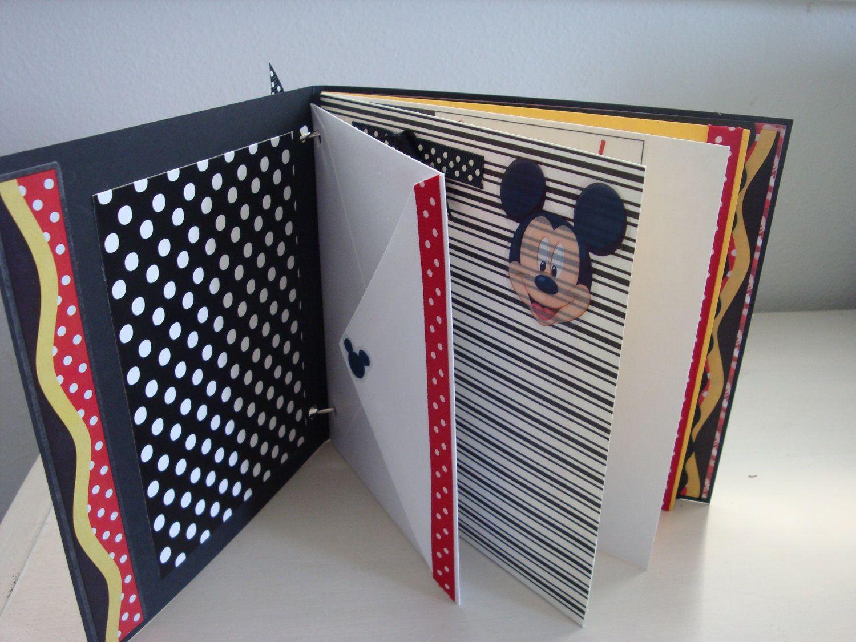 How to scrapbook disney - Customized With Name And Birthday Stickers Disney Scrapbook Mini Album With Mickey Mouse Premade Disney Photo Album Kids Scrapbook