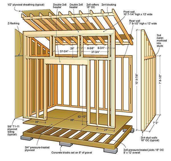 8x12 Lean To Shed Plans 01 Floor Foundation Wall Frame Plan Cabane En Bois Plan Cabane Plan Abris De Jardin