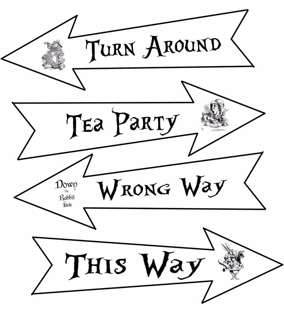 Party Arrows Alice In Wonderland White Black Party Decoration Large Set Of 4 Ebay In 2021 Black Party Decorations Alice In Wonderland Crafts Alice In Wonderland