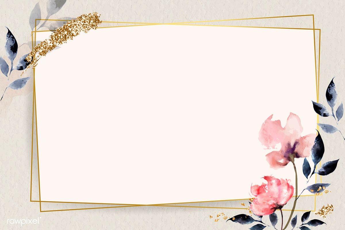Download Premium Vector Of Golden Rectangle With Floral Frame Vector 936992 Floral Logo Design Floral Cards Design Poster Background Design