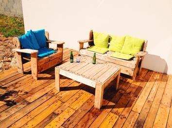 terrasse + salon de jardin en palette palette,terrasse,meubles ...
