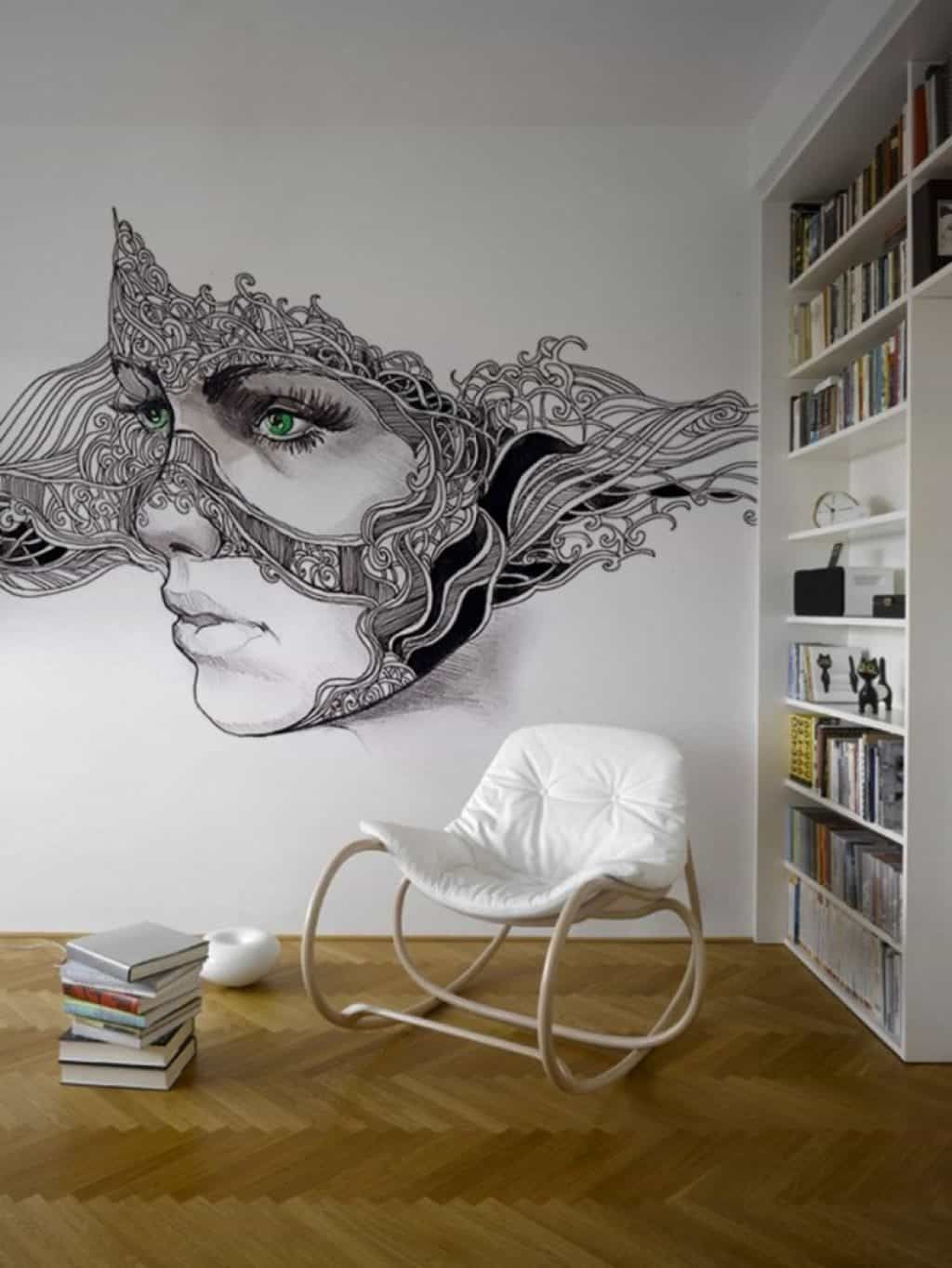 Small Home Library Decorated With Artistic Wall Mural : Enhance The Look Of Your House With A Wall Mural
