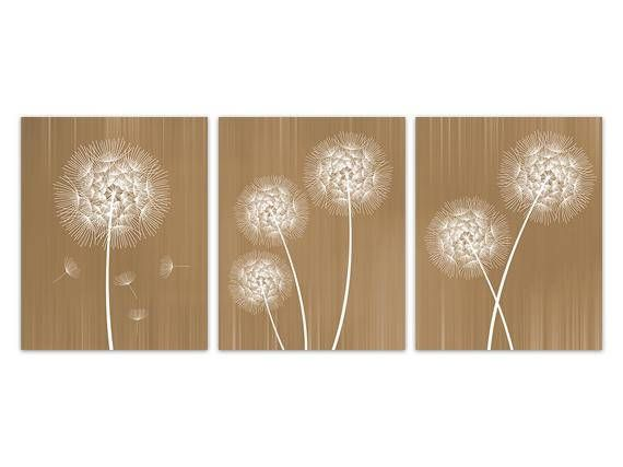 Superb Dandelion Canvas Wall Art Gold Room Decor Nursery Prints