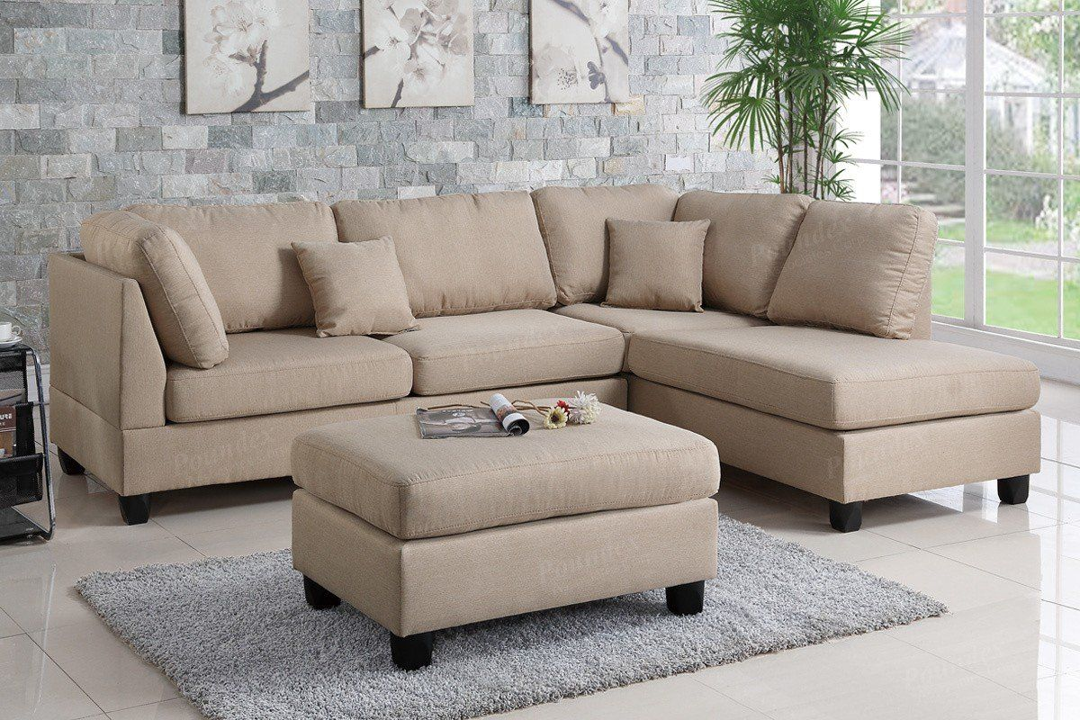 Poundex Sand Fabric Reversible Chaise Sectional Sofa Set | Muebles ...
