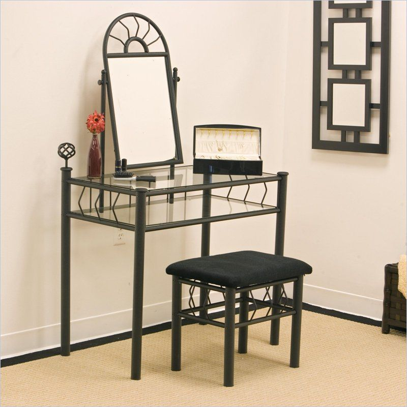 Best Coaster Wrought Iron Frosted Black Makeup Vanity Table Set 640 x 480