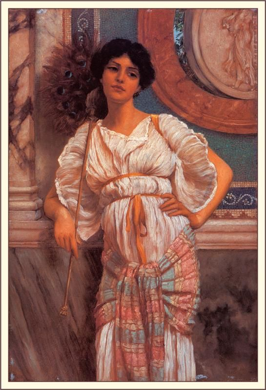 A Classical Beauty with a Peacock - John William Godward