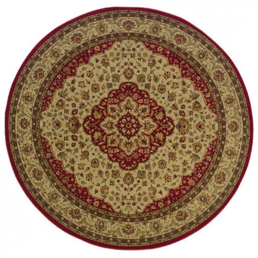Oriental Weavers Sphinx Allure Tan With Red Accents Traditional Round Rug 11d