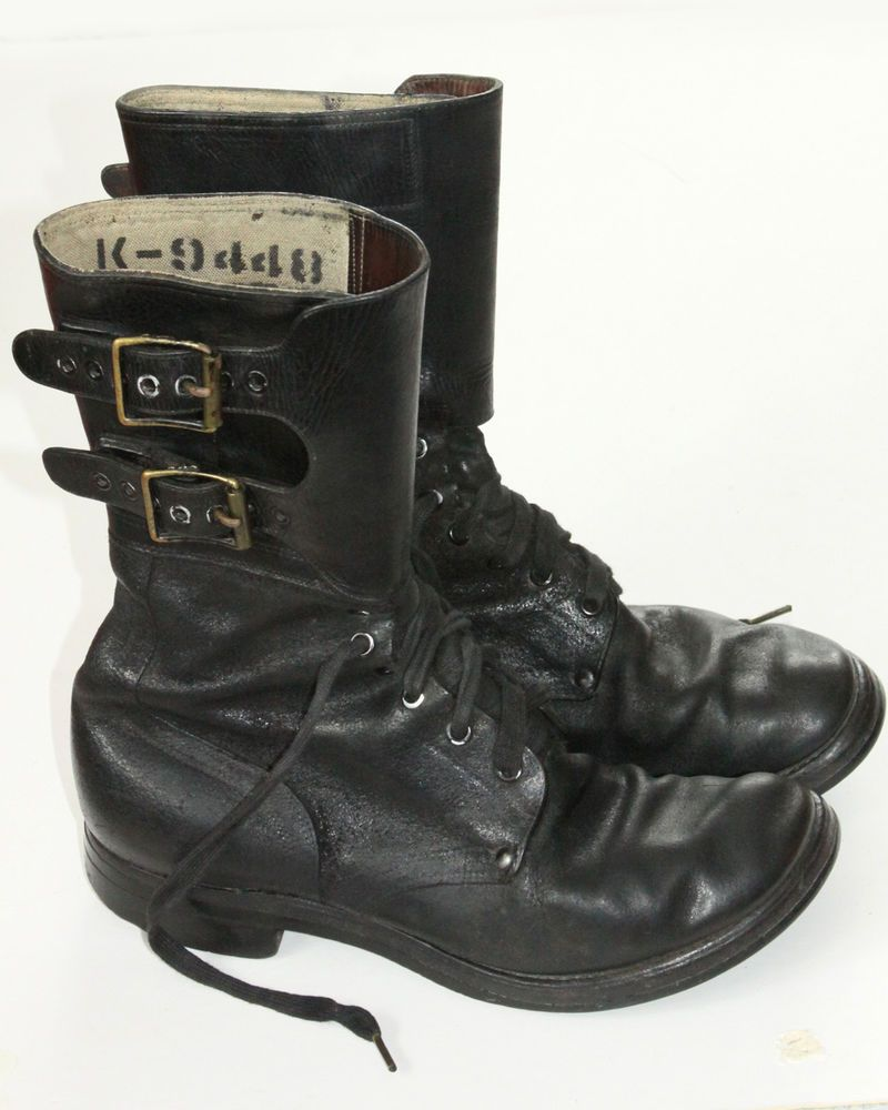 7e3093f4b5b31 WWII Sz 7D US Army Combat Boots 2 Buckle Black Lace Up WW2 Rough Side Out  GX Vtg