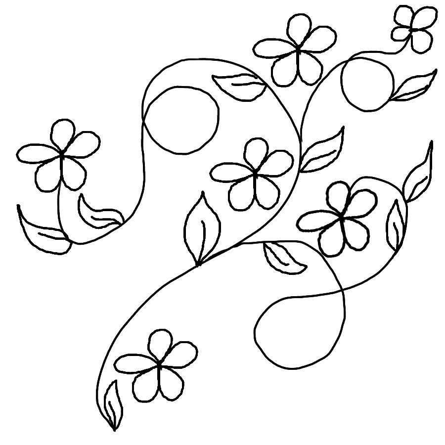 Leaves Coloring Pages Download Flower Line Drawings Leaf