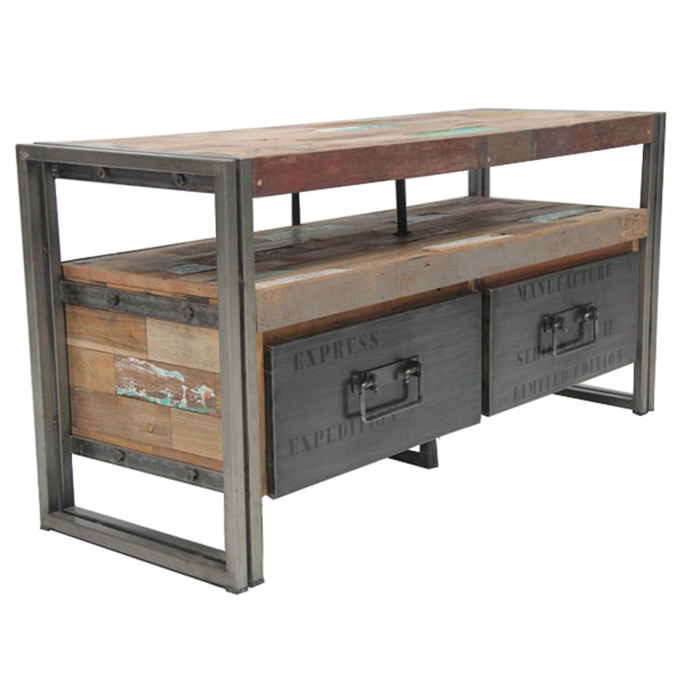Loft TV Unit with 2 Drawers Industrial style Industrial and Cycling