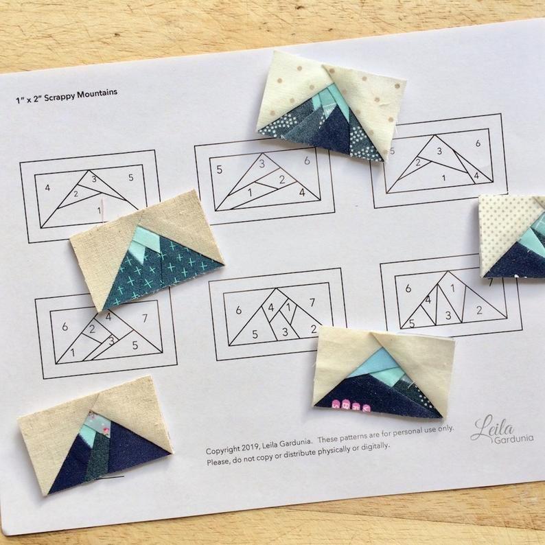 Mini Scrappy Mountain Patterns - Foundation Paper Pieced Quilt Blocks