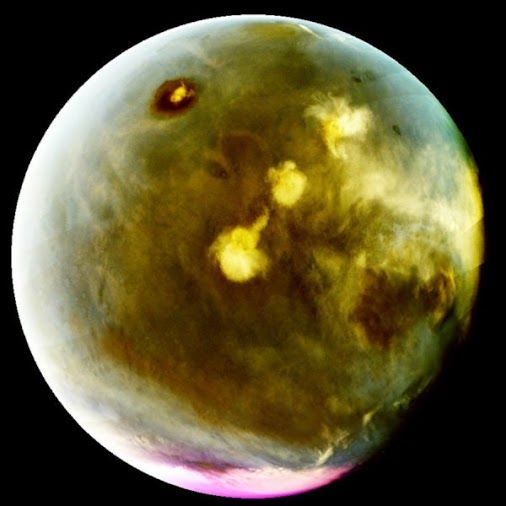 """New global images of Mars from the MAVEN mission show the ultraviolet glow from the Martian atmosphere in unprecedented detail, revealing dynamic, previously invisible behavior. They include the first images of """"nightglow"""" that can be used to show how winds circulate at high altitudes. https://www.sciencedaily.com/releases/2016/10/161018091155.htm"""