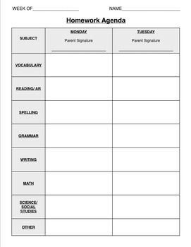 Double Sided Weekly Homework Calendar | Homework calendar ...
