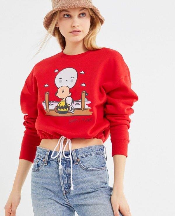 Peanuts Drawstring Hem Cropped Sweatshirt