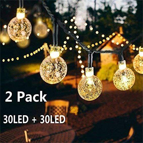 Solar Globe String Lights 30 LED 198ft Outdoor Crystal Ball