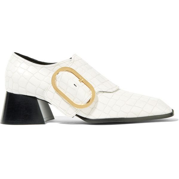 d3761b69d51 Heel measures approximately 2 inches White croc-effect faux leather  Buckle-fastening strap Made in ItalyAs seen in The EDIT magazine