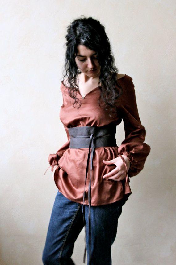 Cotton - Silk Blouse - Women's Long Sleeved Shirt - cotton silk women's Renaissance Chemise - LARP