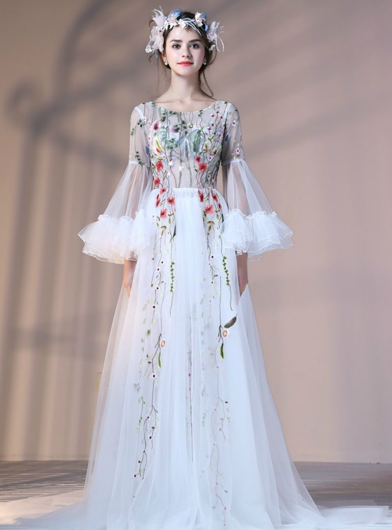 fc7d9a94120 White Tulle Long Sleeve Prom Dresses with Embroidery Banquet Party Gowns