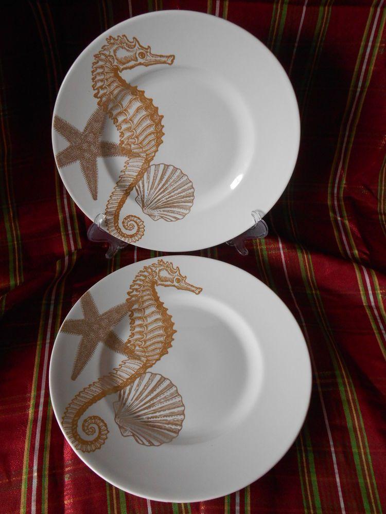 222 FIFTH Coastal Life Gold Dinnerware Seahorse 4 Salad Plates Beach Sea & 222 FIFTH Coastal Life Gold Dinnerware Seahorse 4 Salad Plates Beach ...