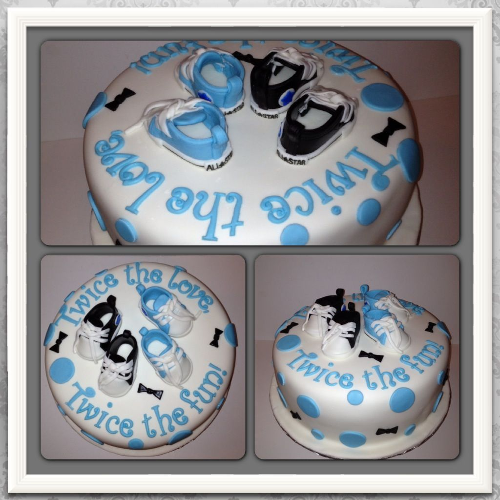 Baby shower cake for twin boys with fondant converse tennis shoes cake topper