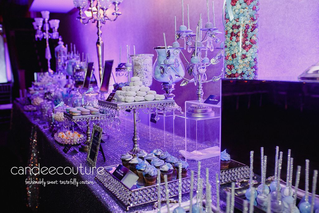 Galaxy Theme Wedding Dessert Bar By Candee Couture Dallas Tx Wedding Table Centerpieces Purple Dessert Bar Wedding Galaxy Wedding