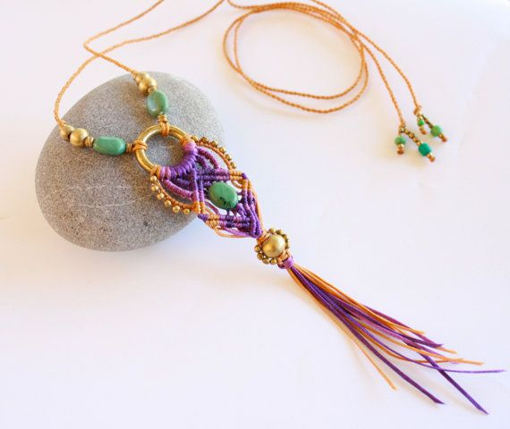 Macrame necklace macrame pendant-micro macrame by yasminsjewelry