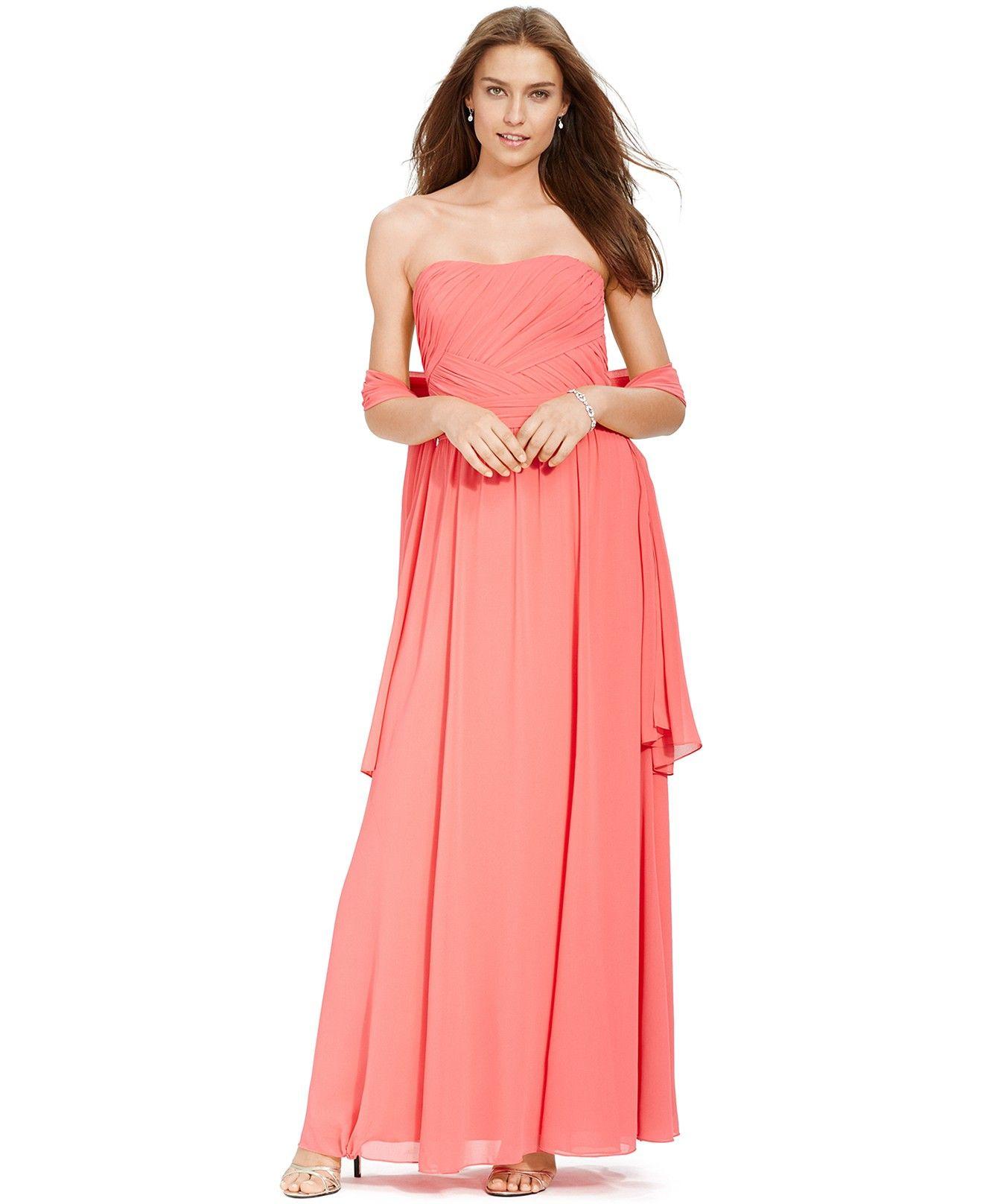 Lauren Ralph Lauren Strapless Ruched Gown - Dresses - Women - Macy\'s ...