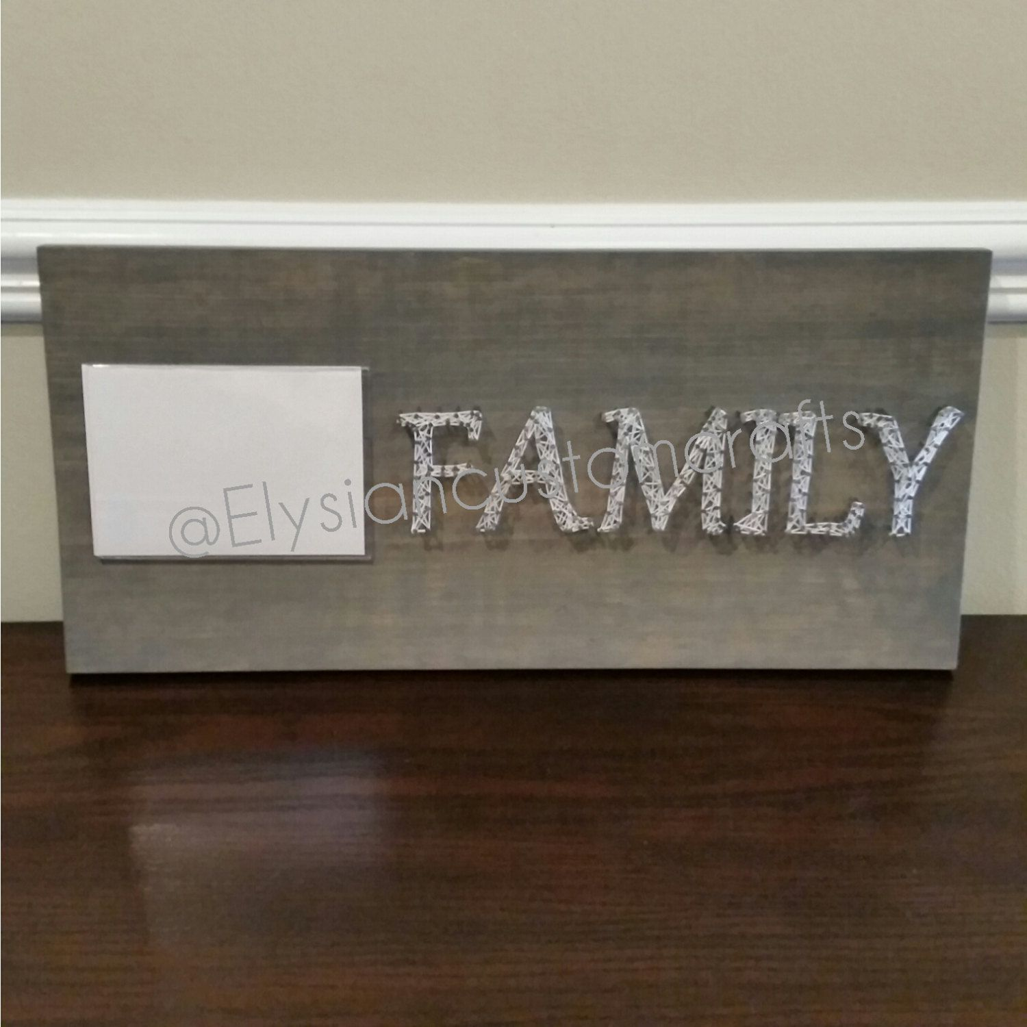 """String Art, Custom Made, """"Family"""", Picture Frame, Wall Decor, Picture Holder by ElysianCustomCrafts on Etsy"""