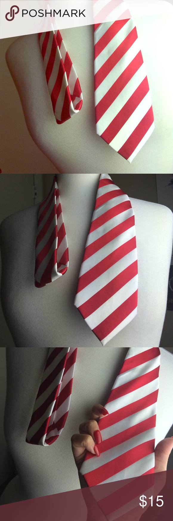 """The KAPPA Red and White Tie Brand new/ With tags Material: 100% Jacquard Woven Silk Size: 59.06"""" in length 3.35"""" in Width Designer Italian Accessories Ties"""