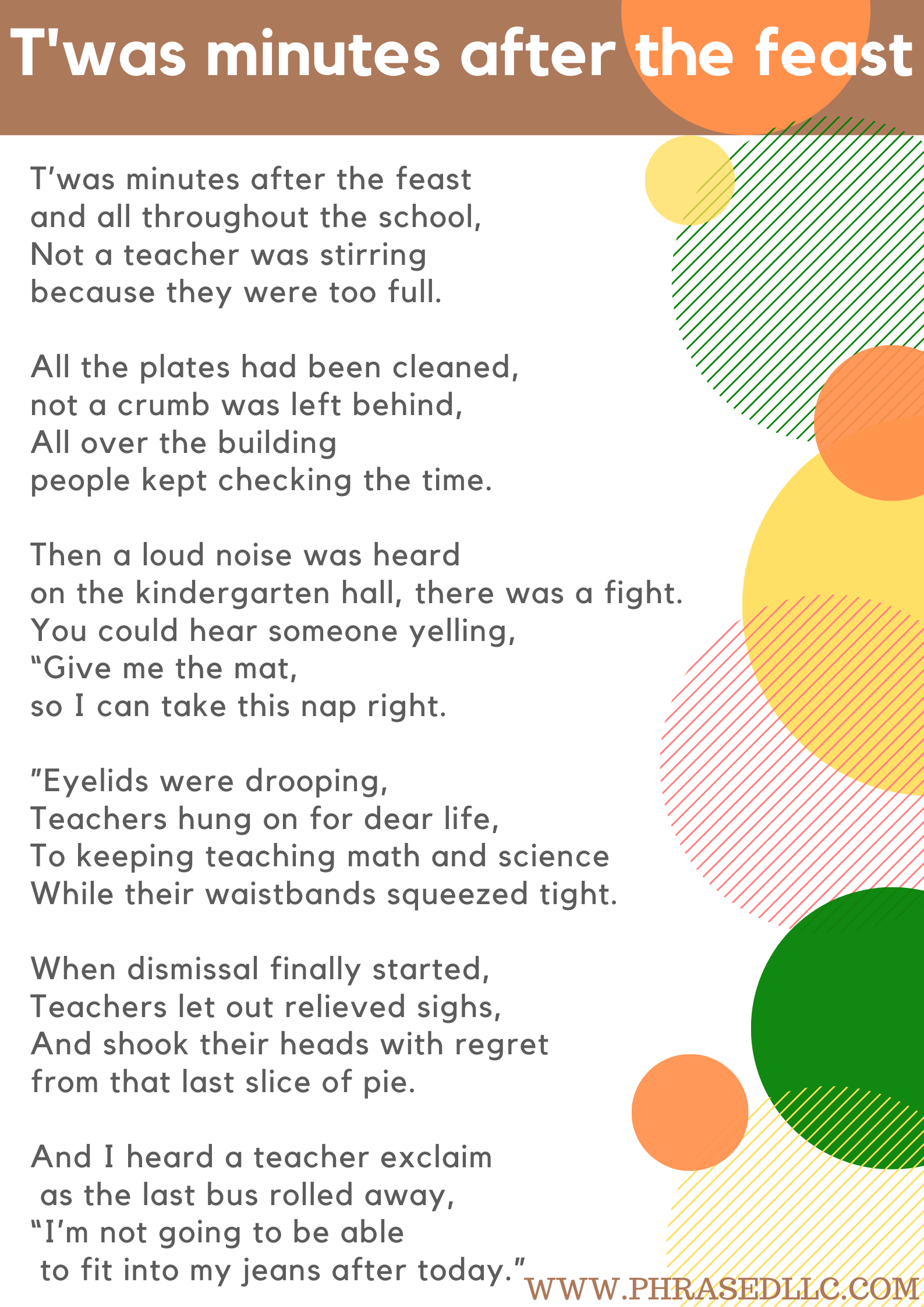 T'was Minutes After the Feast (a holiday poem for teachers