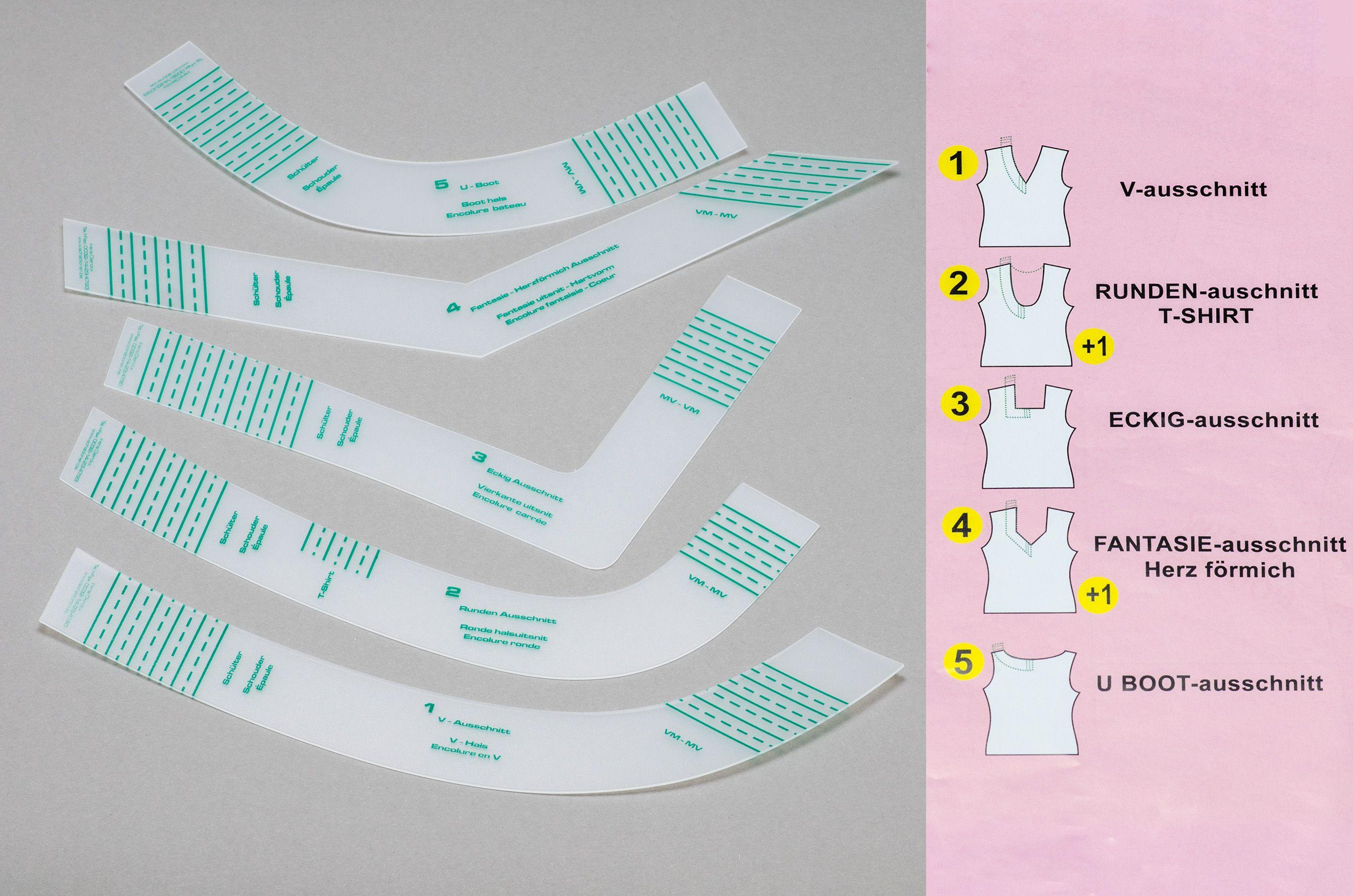 Kurvenschablonen, Kurvenlineal, Schneiderkurven für Halsausschnitte- Set 5 Stück