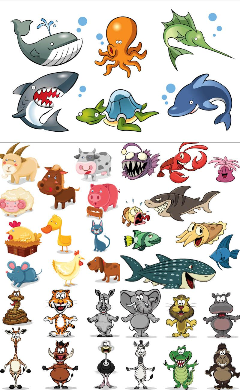 Cartoon animals vector 2. 5 sets with vector cartoon