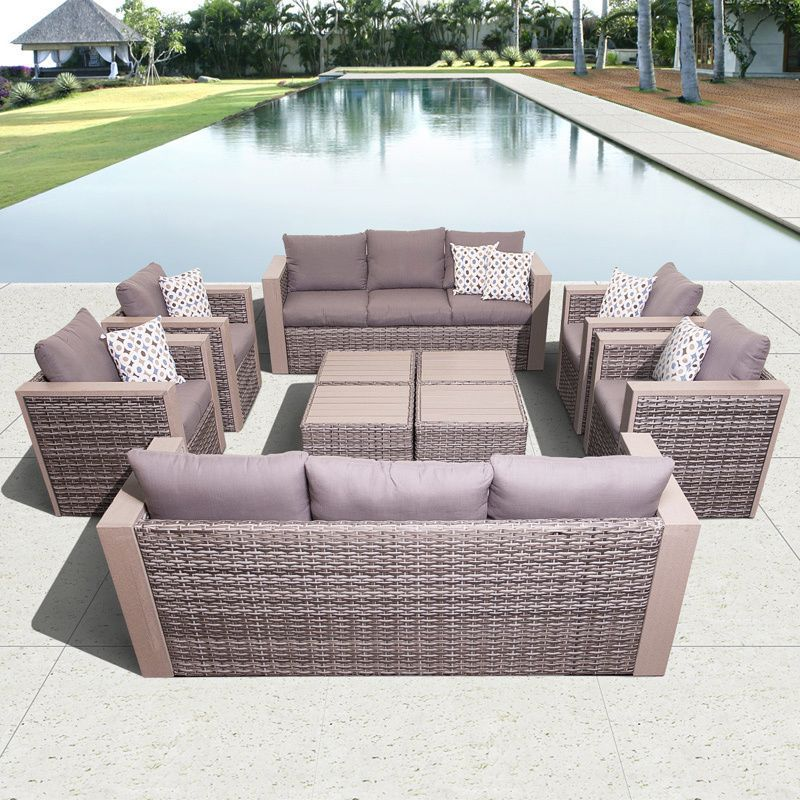 Atlantic Freeport 10 Piece Synthetic Wicker Furniture Conversation Set  (Grey, Grey, 150x130x28), Size 10 Piece Sets, Patio Furniture (Aluminum)