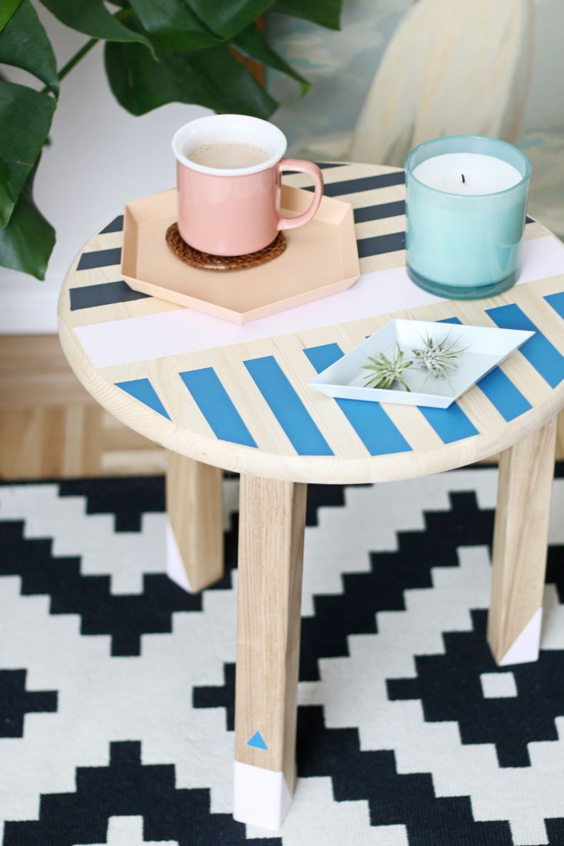 Diy Colorful Side Table