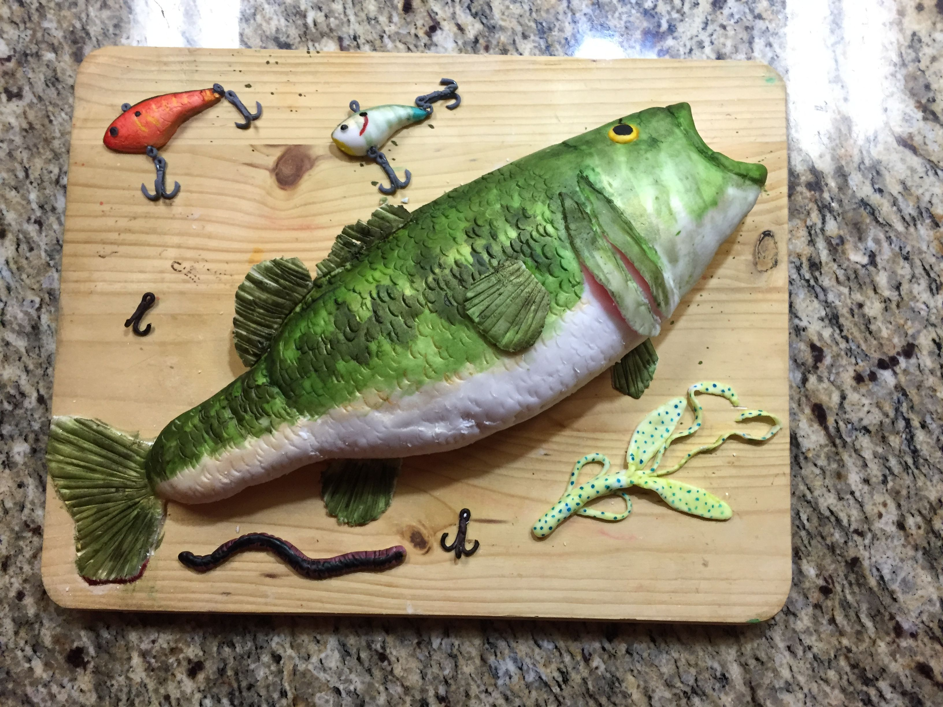 Bass Fish Cake Everything On Board Is Edible Including Lures And Hooks Cake Recipes Fish Cake Birthday Delicious Cake Recipes