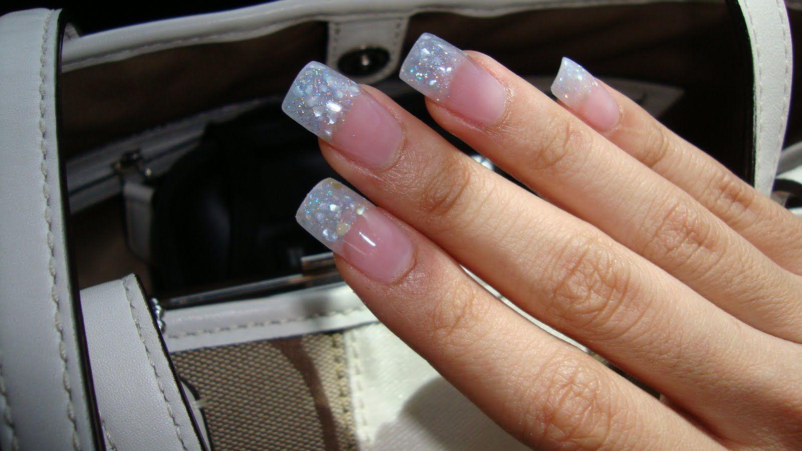 white glitter tip nails pics