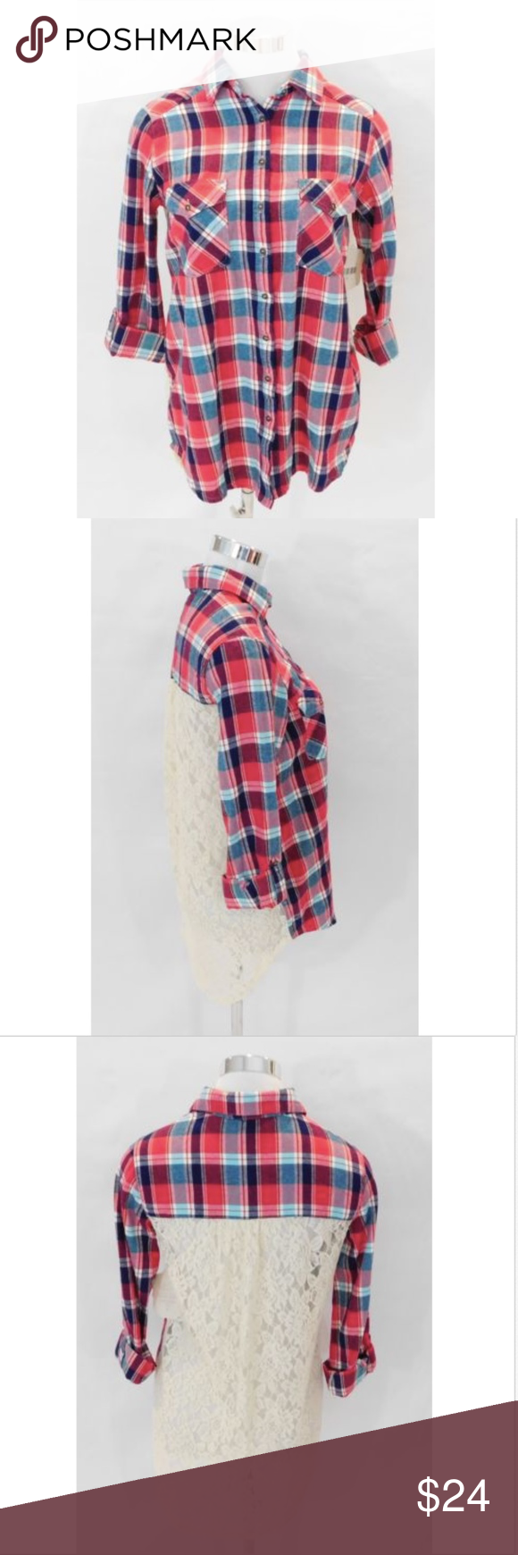 Red flannel shirts  NWT Altarud State Plaid Red Flannel Lace Back S NWT Altarud State