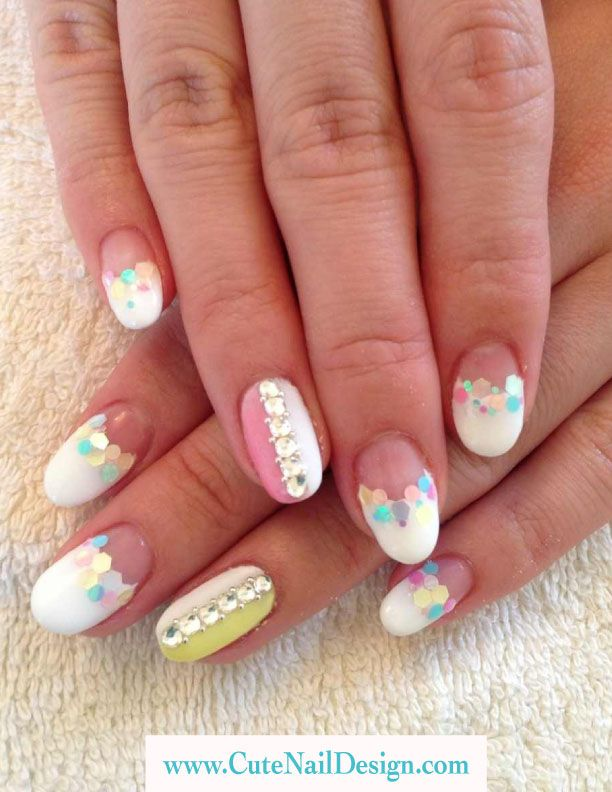 Pastel Color Nail Designs Pastel Color And White Gel French Nails