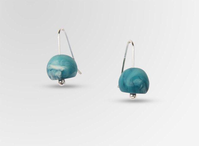 Resin Ball on Wire Earrings - Moody Blue Swirl - Dinosaur Designs AU Store