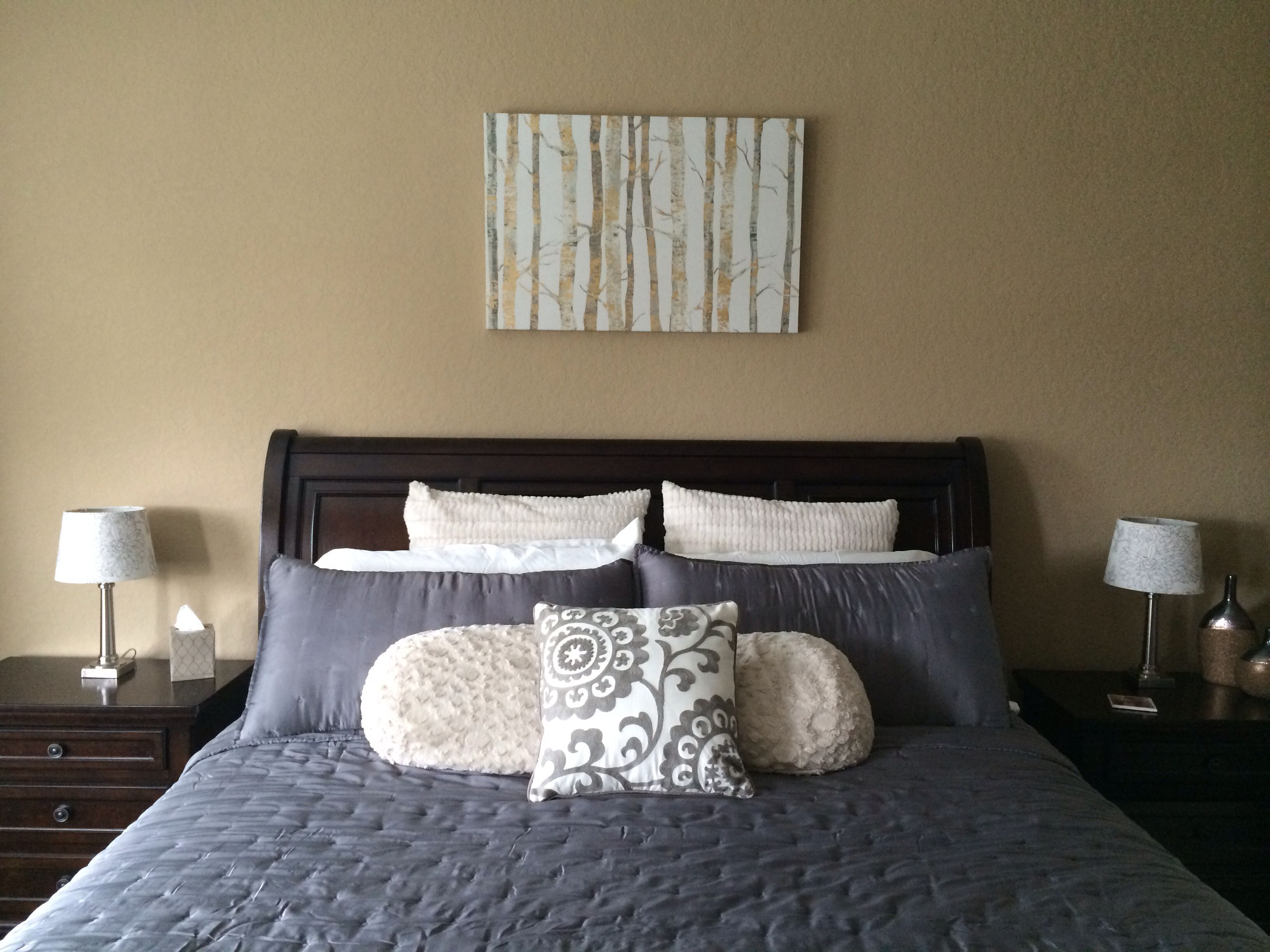 Gray gold ivory espresso bedroom idea Mesa latte walls paint from