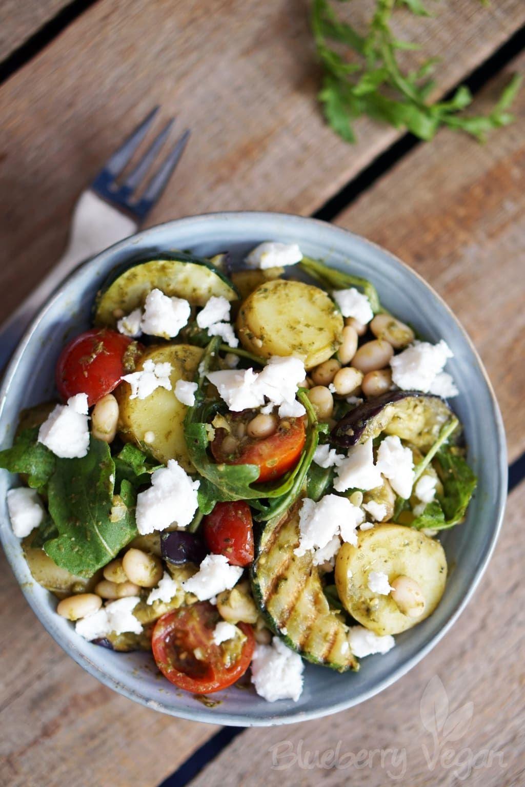 Mediterraner Kartoffelsalat mit Grillgemüse #vegetariandish