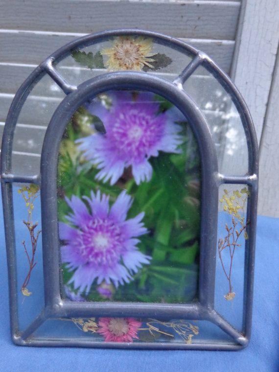Vintage Stained Glass Picture Frame Passion Flower Photo Handmade 5 ...