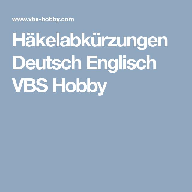 Häkelabkürzungen Deutsch Englisch VBS Hobby   Häkeln   Pinterest ...