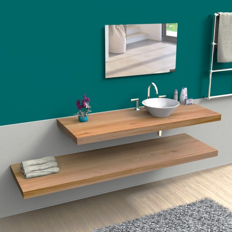 Mensole lavabo bagno da appoggio in legno massello in