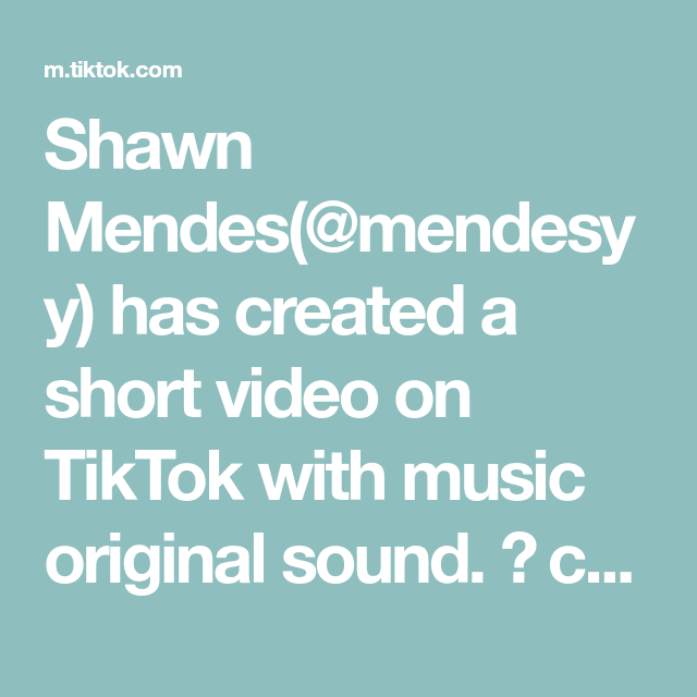 Shawn Mendes Mendesyy Has Created A Short Video On Tiktok With Music Original Sound Ct We Are The Men Homemade Fish And Chips Weird History Facts Saiki