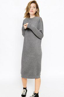 Gray Round Neck Long Sleeve Zipper Dress